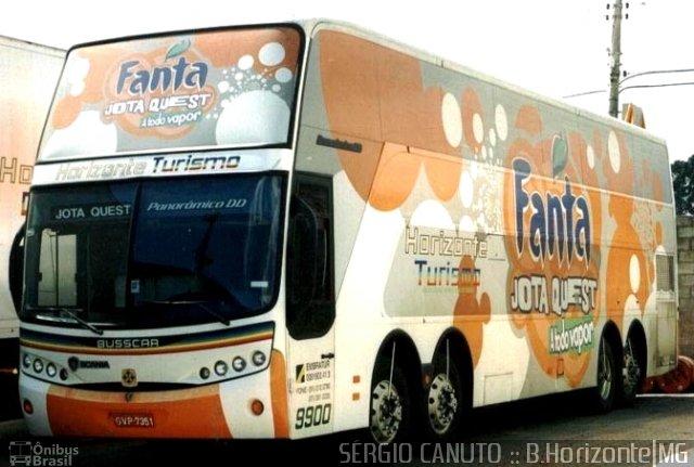 Ônibus Fanta Jota Quest, a todo vapor. Busscar Panorâmico DD da Horizonte Turismo.