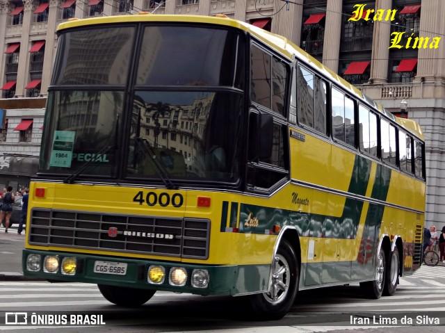 """Nielson Diplomata 380 nas cores da Expresso Brasileiro. Veículo emblemático por ter operado, durante muitos anos, o serviço """"Magnata"""" leito na linha Rio - São Paulo. Foto: Iran Lima da Silva."""